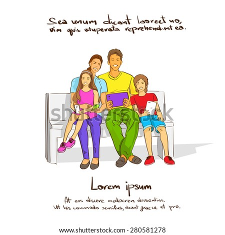 Family With Two Kids Sitting on Bench, Holding Tablet Computer Phone, Couple Children Smile Vector Illustration - stock vector