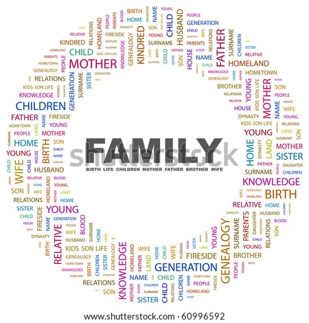FAMILY. Word collage on white background. Illustration with different association terms.