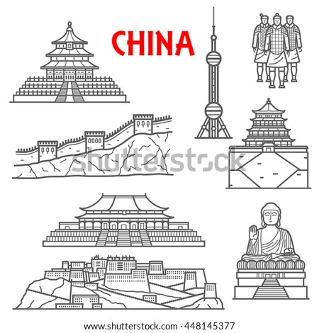 Famous ancient China landmarks  with thin line icons of Great Wall, statues of Terracotta Army and Tian Tan Buddha, Forbidden City and Temple of Heaven, Summer and Potala palaces, Oriental Pearl Tower