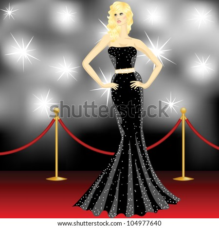 famous beautiful elegant woman posing in front of the paparazzi on the red carpet - stock vector