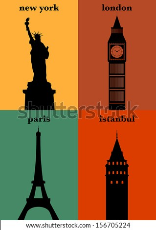 Famous Cities - stock vector