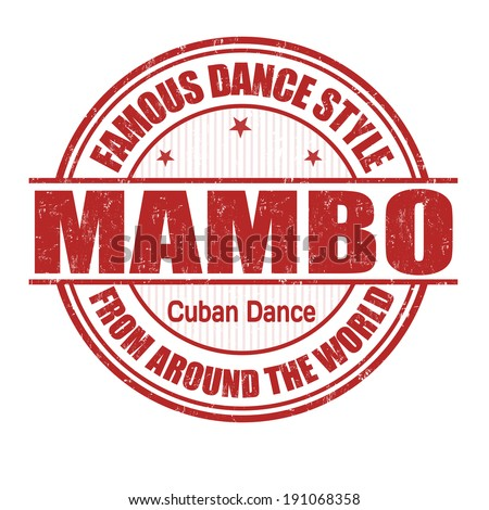 Famous dance style, Mambo grunge rubber stamp on white, vector illustration - stock vector