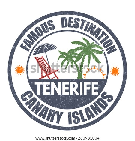 Famous destinations, Tenerife grunge rubber stamp on white, vector illustration - stock vector