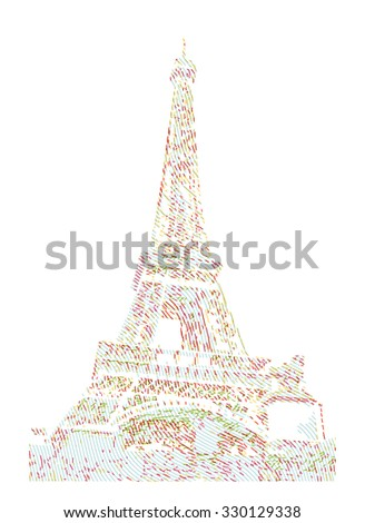 Famous Eiffel tower rendered with engraving effects.  Colorful strokes form an image of travel destination sight in France. Painting of Eiffel tower.