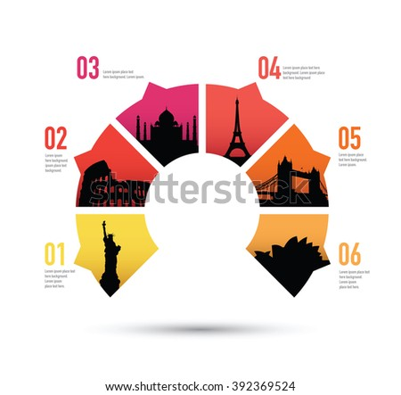 famous landmarks on a pie chart - stock vector