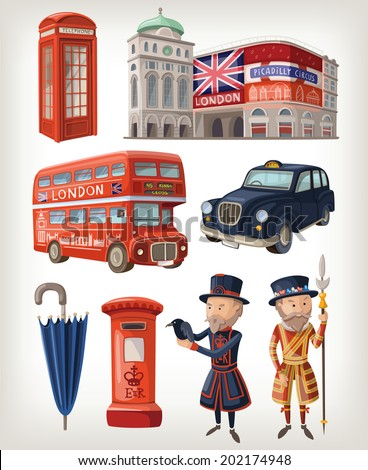 Famous London sights and retro elements of city architecture and lifestyle - stock vector