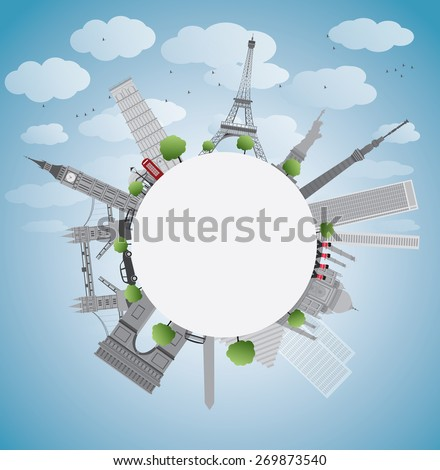 Famous monuments and landmarks around the world. Vector illustration with copy space - stock vector