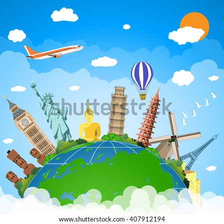 famous monuments of the world. Trip to World. Travel to World. Vacation. Road trip. Tourism. Travel banner. Travel and adventure template, travel time. vector illustration in flat design - stock vector