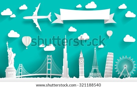 Famous monuments of the world. Vector concept design - stock vector