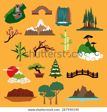 Famous nature landscapes and buildings of China, Japan, Canada, USA, Australia with Great Wall, bridge, waterfall, trees of rainforest, mountains, blooming sakura, bamboo, bonsai for travel design - stock vector