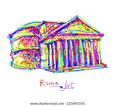 famous place of Rome Italy, original drawing in rainbow colours contemporary art style for travel hobby, vector illustration - stock vector