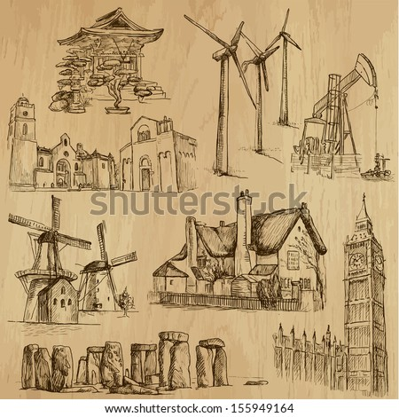 Famous places and Architecture around the World (set no.7). Collection of hand drawn illustrations (originals,no tracing). Each drawing comprises of two layers of outlines, the colored background is isolated - stock vector