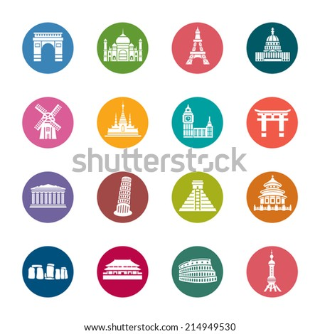 Famous Scenic Spots Color Icons - stock vector