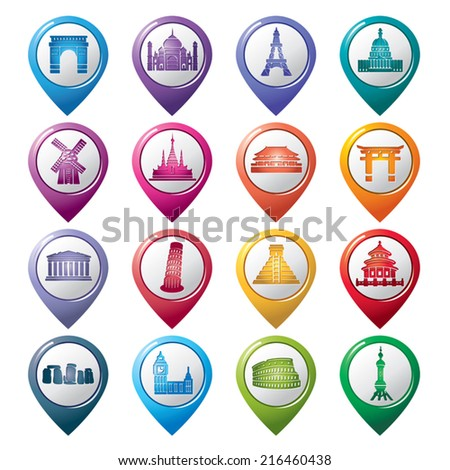 Famous Scenic Spots Pointer Icons - stock vector