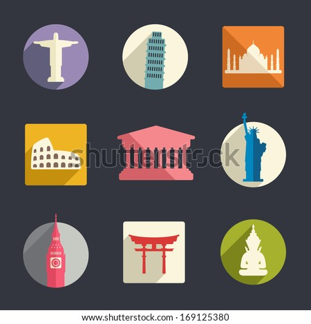 Famous travel landmarks flat icon set. - stock vector