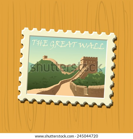 Famous vector destination stamps - China - stock vector
