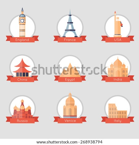 Famous world landmarks set of flat design icons. Russia, India, Egypt, France, USA, China, Italy, England. Isolated label. Vector flat illustration. - stock vector