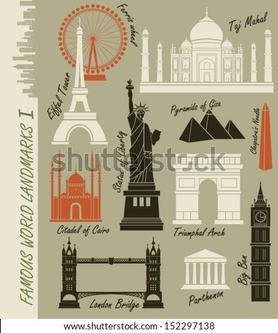 Famous World Landmarks - Set of of world landmarks, including Statue of Liberty, Taj Mahal, Triumphal Arch and Eiffel Tower - stock vector