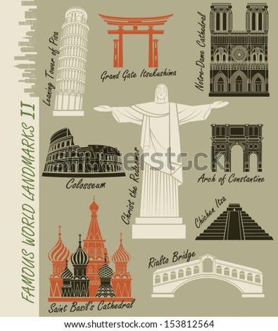 Famous World Landmarks - Set of world landmarks, including the famous Rio de Janeiro statue of Christ the Redeemer, Notre Dame Cathedral,  Colosseum and St. Basil's Cathedral in Moscow - stock vector
