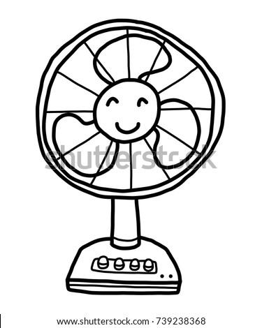 Electrical Fan Working Vector Cartoon Illustration Stock ...