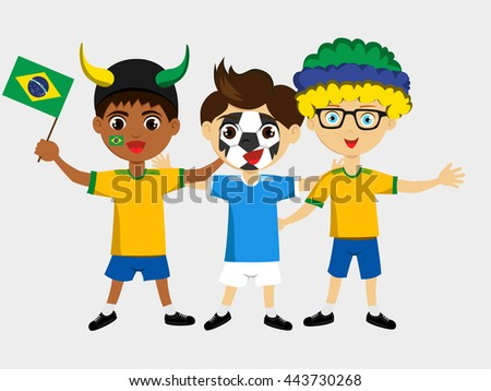 Fan of Brazil national football team, sports. Boy with flag in the colors of the national command with sports paraphernalia. - stock vector