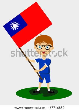 Fan of Chinese Taipei national football team, sports. Boy with flag in the colors of the state command with sports paraphernalia.