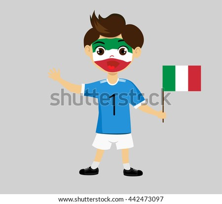 Fan of Italy national football team, sports. Boy with flag in the colors of the national command with sports paraphernalia.