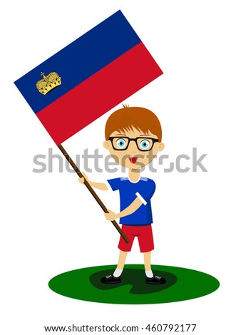 Fan of Liechtenstein national football team, sports. Boy with flag in the colors of the state command with sports paraphernalia.