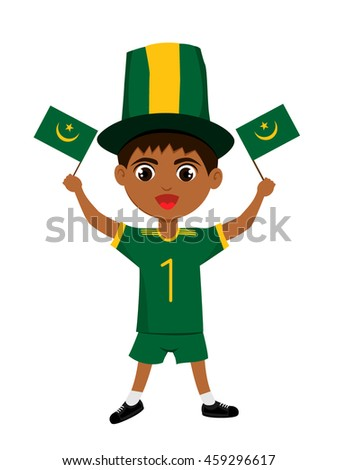 Fan of Mauritania national football team, sports. Boy with flag in the colors of the state command with sports paraphernalia.