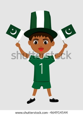 Fan of Pakistan national football team, sports. Boy with flag in the colors of the state command with sports paraphernalia.