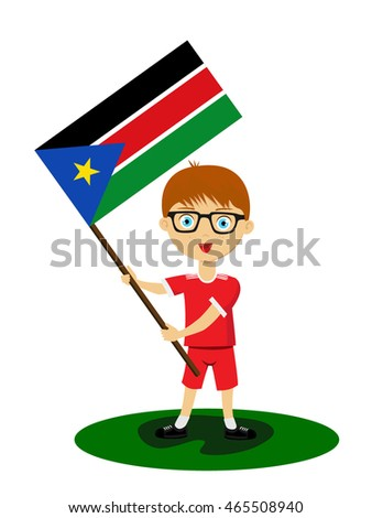 Fan of South Sudan national football team, sports. Boy with flag in the colors of the state command with sports paraphernalia.