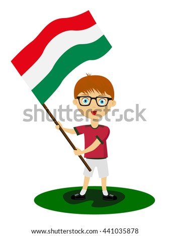 Fan of the national team of Hungary supports its athletes, players on the football championships in other sports, running,  Fan in the national colors of the national team with a flag in his hands - stock vector