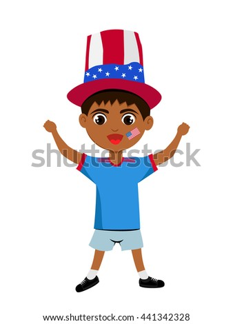 Fan of USA national football team, sports. Boy with flag in the colors of the state command with sports paraphernalia.