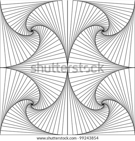 Fan pattern in black and white - stock vector