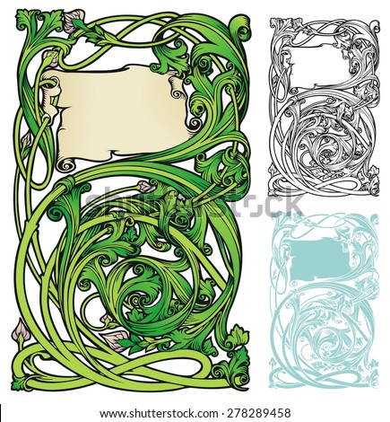 fanciful bookplate style frame or border, with variations - stock vector