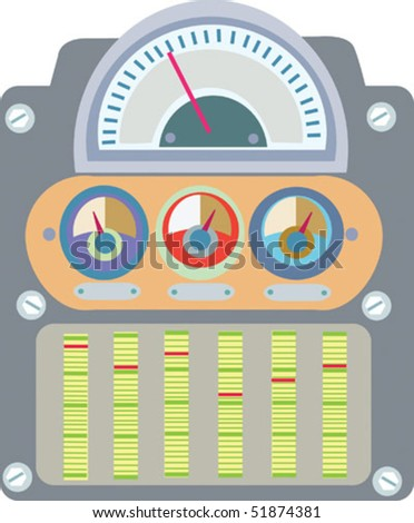 """Fanciful stylized dial/gauge illustration with areas for type and adjustable """"indicators"""" on separate layer. - stock vector"""