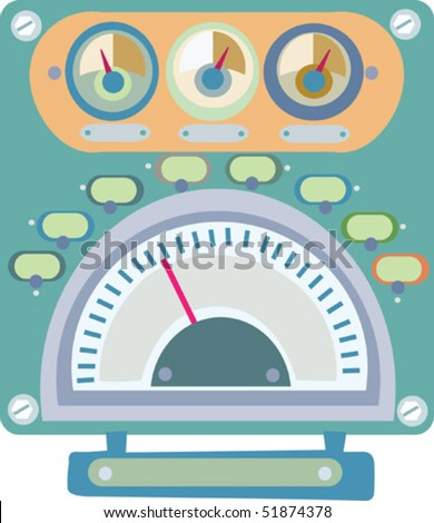 """Fanciful stylized multi-gauge illustration with areas for type and adjustable """"indicators"""" on separate layer. - stock vector"""