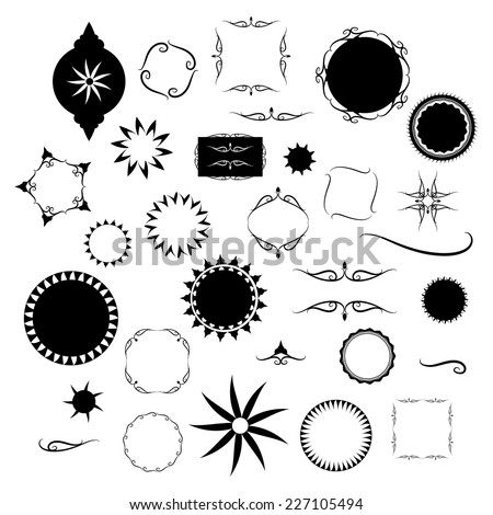 fancy design elements vector with black and white borders and frame designs, Victorian designs in round star and square shapes - stock vector