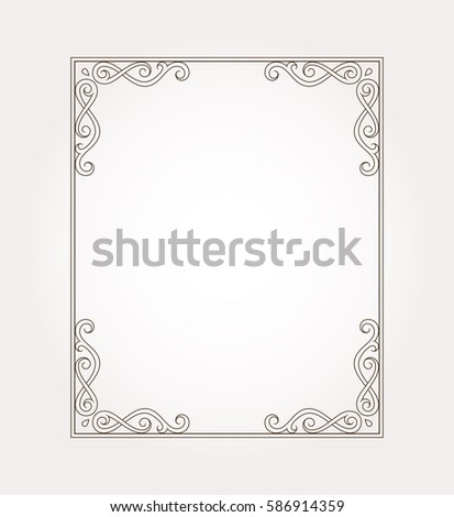 Fancy Frame Border Page Ornament Decorative Stock Vector 586914359