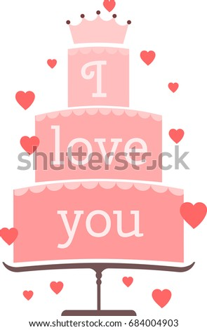 fancy logo with triple cake with words i love you decorated with hearts nice pink cake