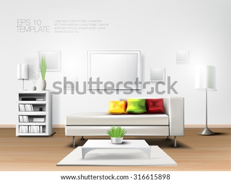 Fancy modern living room with white sofa and colorful pillows. Realistic vector template - stock vector