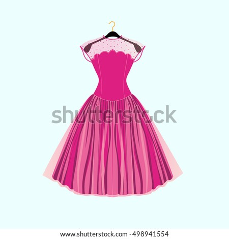 Fancy party dress Vector illustration for birthday card