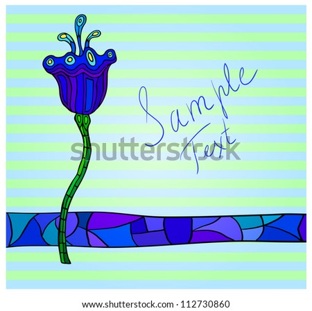 Fancy peacock colors flower striped background with a place for your text. Eps 10 vector - stock vector