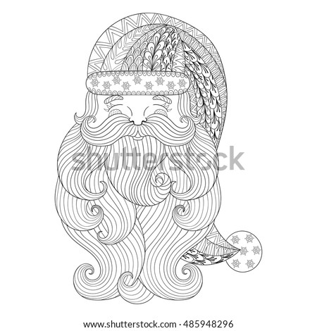 Freehand Ethnic Xmas Sketch For Adult Coloring Book Ornamental