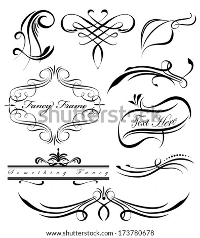 Fancy scrolls and borders - stock vector