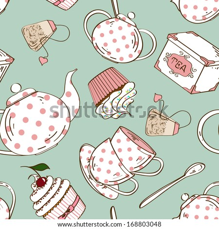 Fancy seamless pattern of white pink polka dots tea set and cupcakes - stock vector