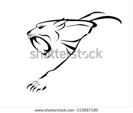fang face big cat, roaring and crawling  - stock vector