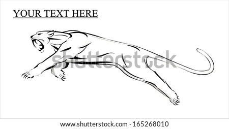 fang face big cat, roaring and leaping - stock vector