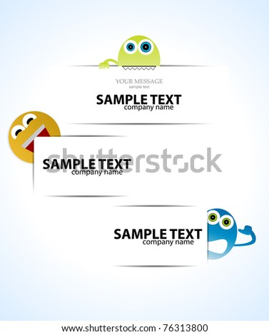 Fanny Labels with monster. Vector set - stock vector