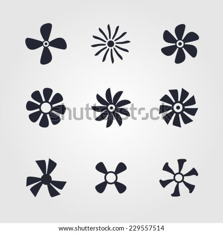 Fans and propellers collection - stock vector